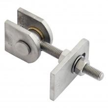 Bránový záves na privarenie nastaviteľný, dĺžka 130 mm, lesklá/pozinkovaná oceľ