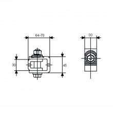 Nastaviteľný záves na navarenie typ A, platnička 30 x 45 mm, pozinkovaná oceľ