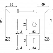 Garnitúra kľučka-kľučka Amsterdam s rozetami BB, hrúbka dverí 35-45 mm, ušľ.oceľ