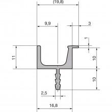 Úchytková lišta Prego dĺžka 2500mm, prírodne eloxovaný hliník