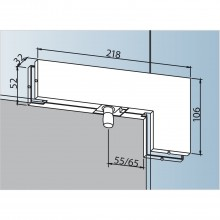 Rohové nadsvetlíkové kovanie PT 40 s čapom ø 15mm, sklo 10mm, ušľ. oceľ