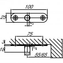 Čap DORMA PT 24, ø 15 mm so skrutk. sponou, sklo 10 mm, antikoro