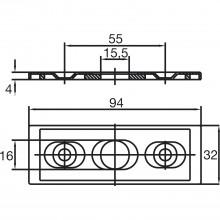 Protiplech pre rohový zámok US 10, nast. +/- 5 mm, 2-dielny, ušľ. oceľ