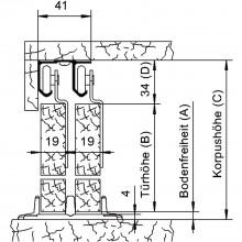 Súprava kovania Helm 25 na 2-krídlové dvere 1800 mm