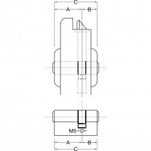 Stavebná dvojitá vložka BKS 35 / 35 mm, mosadz matne poniklovaná