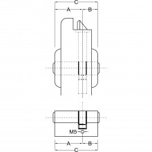 Stavebná dvojitá vložka BKS 35 / 55 mm, mosadz matne poniklovaná