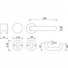 Protipožiarna súprava guľa/kľučka 111.20 R/122.23 FS na rozete PZ hlboko čierna