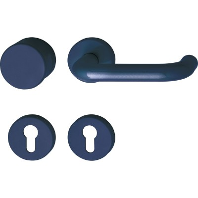 Súprava guľa/kľučka 111.23 R/122.23 na rozete PZ oceľovo modrá