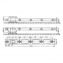 Dverová lišta DORMA 7421 pre krídlové dvere, na naskrutkovanie, pozinkovaná oceľ
