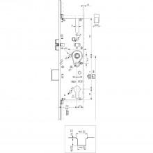 Zámok MFV Maco G-TS PT i.S, r.tŕňa 55 mm, štulp 2400 x 16 x 3 mm, hran., strieb.