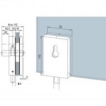 Rohový zámok SG, pripravená CV, 8 – 12 mm, strieborne eloxovaný