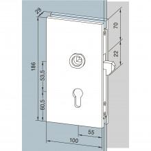 Zámok pre posuvné dvere, strieborne eloxovaný hliník