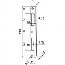 Rohový protiplech R 9, okrúhly, výstupky 10mm, vypuklý výrez, pozink., strieb.