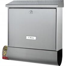 BURG poštová schránka INOX STAR s boxom na noviny, ušľachtilá oceľ