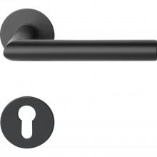 Súprava kľučiek NORWEGEN na plochej okrúhlej rozete PZ, ušľ.oceľ čierna