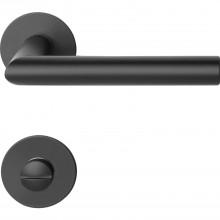 Súprava kľučiek NORWEGEN na plochej okrúhlej rozete WC,ušľ.oceľ čierna