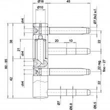 Záves na zavŕtanie typ 495 3D Exacta, krídlová časť,ø16mm,oceľ žlto pasiv.(FE52)