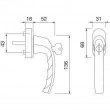 HOPPE okenná kľučka ATLANTA - Secustik 45°, štvorhran 7x32-42mm, strieborná