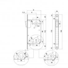 BONAITI magnetický západkový zámok B-Twin 341 WC, DM 50mm, oceľ pochr./satin.