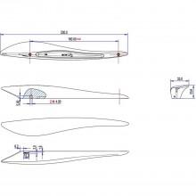 Úchytka Ustica vzd.dier 160, šírka 230 mm, zinková liatina, čierna matná
