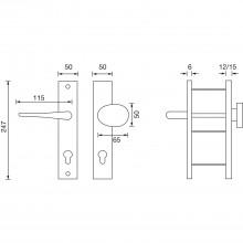 Bezp.kovanie guľa-kľučka RIVA zal.guľa,bez prekr.vl.,50x247x12 strieb.