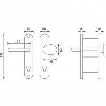 Bezp.kovanie guľa-kľučka GARDA zalom.guľa,bez prekr.vl.,50x247x15 RC2 strieb.