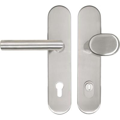 Bezp.kovanie guľa-kľučka GEHRUNG na dl.štítku PZ88 s prekr.vložky ušľ.oceľ
