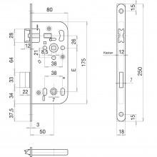 Zadlabací zámok SOLIDO WC, DM50, orech 8,0 pozink.oceľ vo farbe striebra