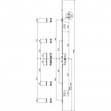 Viacbodový zámok G-TS PT i.S, DM 55 mm, štulp 2400 x 16 x 3 mm, hranatý